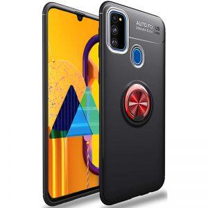 Cиликоновый чехол Deen ColorRing c креплением под магнитный держатель для Samsung Galaxy M31 – Черный / Красный