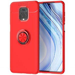 Cиликоновый чехол Deen ColorRing c креплением под магнитный держатель для Xiaomi Redmi Note 9s / Note 9 Pro / Note 9 Pro Max – Красный