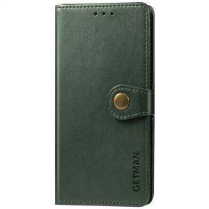 Кожаный чехол-книжка GETMAN Gallant для Xiaomi Redmi Note 9s / Note 9 Pro / Note 9 Pro Max – Зеленый