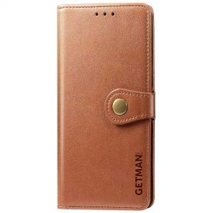 Кожаный чехол-книжка GETMAN Gallant для Xiaomi Redmi Note 9s / Note 9 Pro / Note 9 Pro Max – Коричневый
