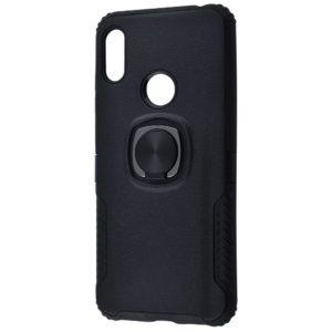Ударопрочный чехол Leather Design With Ring (PC+TPU) под магнитный держатель для Huawei Y6s / Y6 2019 / Honor 8A — Black