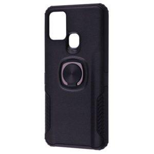 Ударопрочный чехол Leather Design With Ring (PC+TPU) под магнитный держатель для Samsung Galaxy M31 — Black