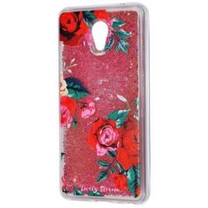 TPU+PC чехол Lovely Stream с переливающимися блестками для Meizu M5c – Red rose
