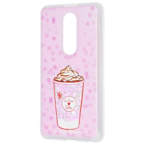TPU+PC чехол Lovely Stream с переливающимися блестками для Meizu M8 – Ice cream coffee pink