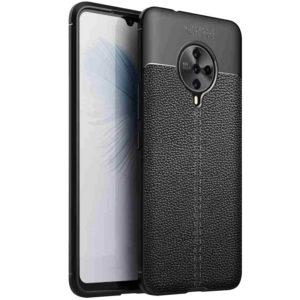 TPU чехол фактурный (с имитацией кожи) для Vivo S6 – Черный