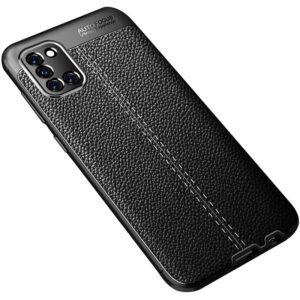 TPU чехол фактурный (с имитацией кожи) для Samsung Galaxy A31 – Black