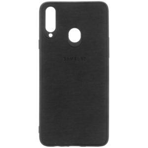 TPU чехол Textile Logo для Samsung Galaxy A20s – Черный