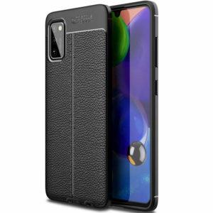 TPU чехол фактурный (с имитацией кожи) для Samsung Galaxy A41 – Black