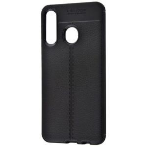 TPU чехол фактурный (с имитацией кожи) для Huawei P30 Lite – Черный