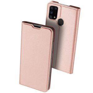 Чехол-книжка Dux Ducis с карманом для Samsung Galaxy M31 — Rose gold