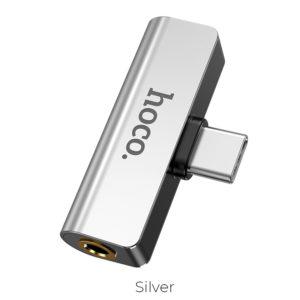 Адаптер Hoco LS26 Type- C to Type-C to 3.5 – Silver