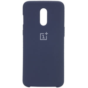 Оригинальный чехол Silicone Case с микрофиброй для OnePlus 7 – Синий / Midnight Blue