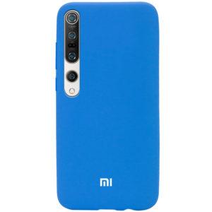 Оригинальный чехол Silicone Cover 360 с микрофиброй для Xiaomi Mi 10 / Mi 10 Pro – Голубой / Azure