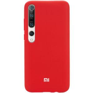 Оригинальный чехол Silicone Cover 360 с микрофиброй для Xiaomi Mi 10 / Mi 10 Pro – Красный / Dark Red
