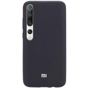 Оригинальный чехол Silicone Cover 360 с микрофиброй для Xiaomi Mi 10 / Mi 10 Pro – Черный / Black