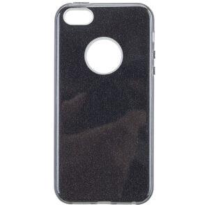 Cиликоновый (TPU+PC) чехол Shine с блестками для Iphone Iphone 5 / 5s / 5c /SE -Black