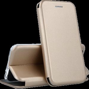Кожаный чехол-книжка 360 с визитницей для Xiaomi Redmi Note 5 / 5 Pro – Золотой