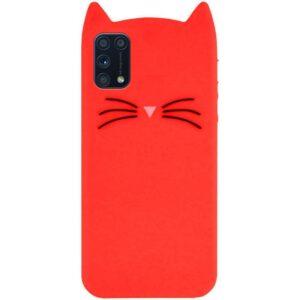 Силиконовый чехол 3D Cat для Samsung Galaxy A31 – Красный
