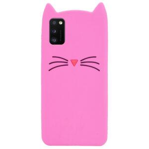 Силиконовый чехол 3D Cat для Samsung Galaxy A41 – Розовый