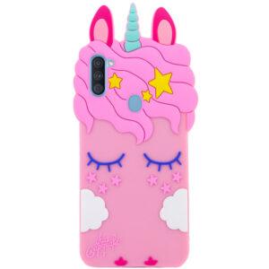 Силиконовый чехол 3D Единорог для Samsung Galaxy A11 / M11 – Розовый