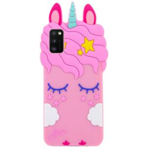 Силиконовый чехол 3D Единорог для Samsung Galaxy A41 – Розовый