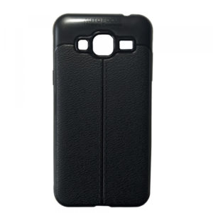 TPU чехол фактурный (с имитацией кожи) для Samsung Galaxy J3 2016 (J310 / J320) – Black