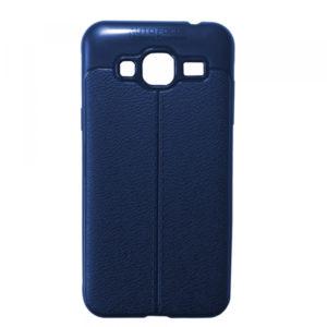 TPU чехол фактурный (с имитацией кожи) для Samsung Galaxy J3 2016 (J310 / J320) – Blue