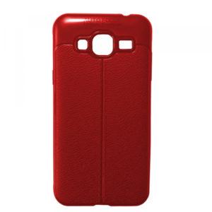 TPU чехол фактурный (с имитацией кожи) для Samsung Galaxy J3 2016 (J310 / J320) – Red