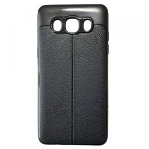 TPU чехол фактурный (с имитацией кожи) для Samsung Galaxy J7 2016 (J710) – Black