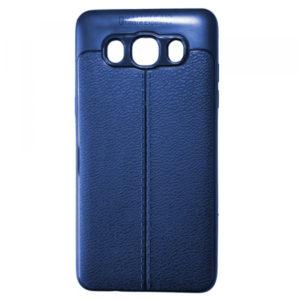 TPU чехол фактурный (с имитацией кожи) для Samsung Galaxy J7 2016 (J710) – Blue