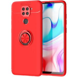 Cиликоновый чехол Deen ColorRing c креплением под магнитный держатель для Xiaomi Redmi Note 9 / Redmi 10X – Красный