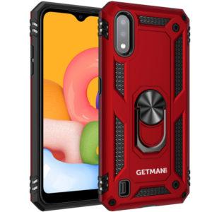 Ударопрочный чехол GETMAN Serge Ring под магнитный держатель с кольцом для Samsung Galaxy A01 – Красный