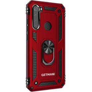 Ударопрочный чехол GETMAN Serge Ring под магнитный держатель с кольцом для Samsung Galaxy A21 – Красный