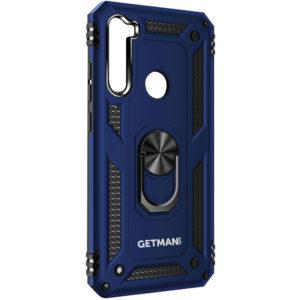Ударопрочный чехол GETMAN Serge Ring под магнитный держатель с кольцом для Samsung Galaxy A21 – Темно-синий