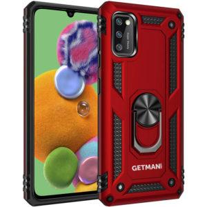 Ударопрочный чехол GETMAN Serge Ring под магнитный держатель с кольцом для Samsung Galaxy A41 – Красный