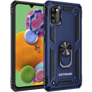 Ударопрочный чехол GETMAN Serge Ring под магнитный держатель с кольцом для Samsung Galaxy A41 – Темно-синий