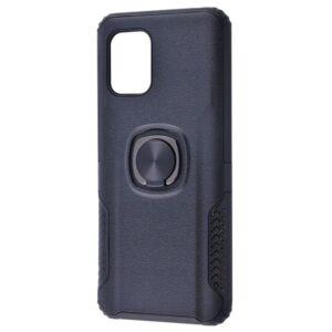Ударопрочный чехол Leather Design With Ring (PC+TPU) под магнитный держатель для Xiaomi Mi 10 Lite — Black