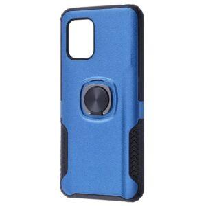 Ударопрочный чехол Leather Design With Ring (PC+TPU) под магнитный держатель для Xiaomi Mi 10 Lite — Blue