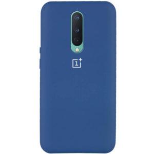 Оригинальный чехол Silicone Cover 360 с микрофиброй для OnePlus 8 – Синий / Navy Blue
