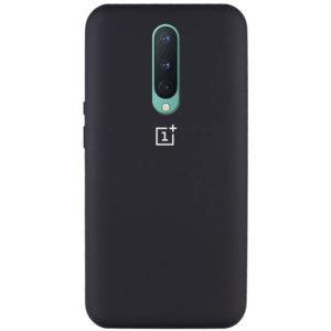 Оригинальный чехол Silicone Cover 360 с микрофиброй для OnePlus 8 – Черный / Black