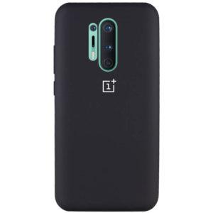 Оригинальный чехол Silicone Cover 360 с микрофиброй для OnePlus 8 Pro – Черный / Black