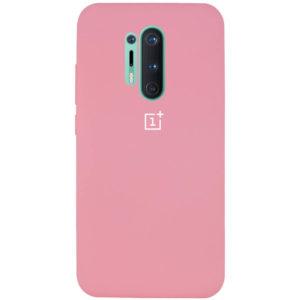Оригинальный чехол Silicone Cover 360 с микрофиброй для OnePlus 8 Pro – Розовый / Pink