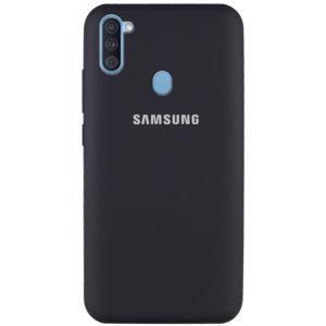 Оригинальный чехол Silicone Cover 360 с микрофиброй для Samsung Galaxy A11 / M11 – Черный / Black