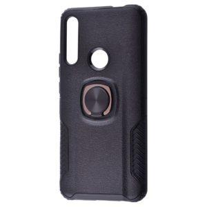 Ударопрочный чехол Leather Design With Ring (PC+TPU) под магнитный держатель для Huawei P Smart Z / Honor 9x — Black