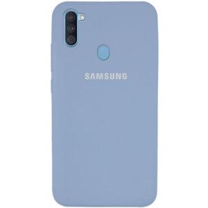 Оригинальный чехол Silicone Cover 360 с микрофиброй для Samsung Galaxy A11 / M11 – Голубой / Mist blue
