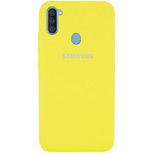 Оригинальный чехол Silicone Cover 360 с микрофиброй для Samsung Galaxy A11 / M11 – Желтый / Yellow