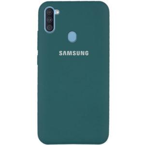 Оригинальный чехол Silicone Cover 360 с микрофиброй для Samsung Galaxy A11 / M11 – Зеленый / Pine green