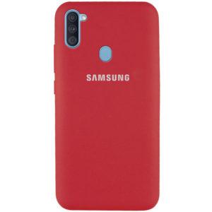 Оригинальный чехол Silicone Cover 360 с микрофиброй для Samsung Galaxy A11 / M11 – Красный / Camellia