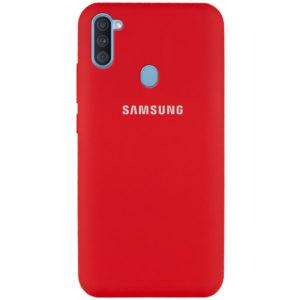 Оригинальный чехол Silicone Cover 360 с микрофиброй для Samsung Galaxy A11 / M11 – Красный / Dark Red