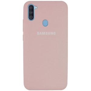 Оригинальный чехол Silicone Cover 360 с микрофиброй для Samsung Galaxy A11 / M11 – Розовый / Pink Sand